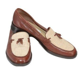 Aigner Leather & Linen Canvas Loafers Shoes 7.5